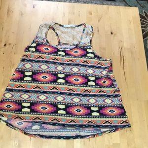 Aztec design top with crochet